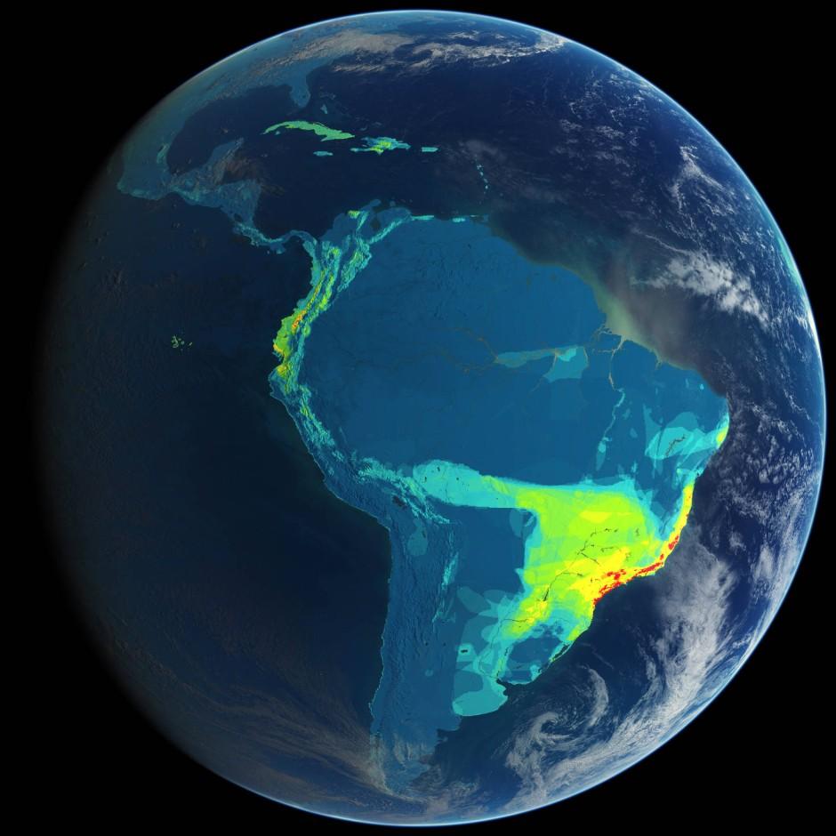 Eine Karte, die artenreiche Vogelvorkommen in Brasilien dokumentiert: Die größte Vielfalt gibt es hier wie in vielen anderen Wildnisgebieten genau dort, wo die größte Bedrohung beispielsweise durch Übernutzung und Lebensraumwandel herrscht.
