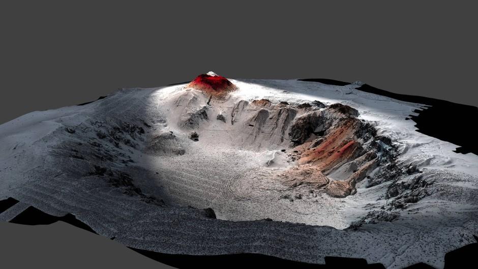 Illustration der mächtigen Caldera des Havre-Tiefseevulkans nördlich vor Neuseeland