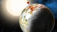 Exoplanet Kepler-10c, eine Illustration.
