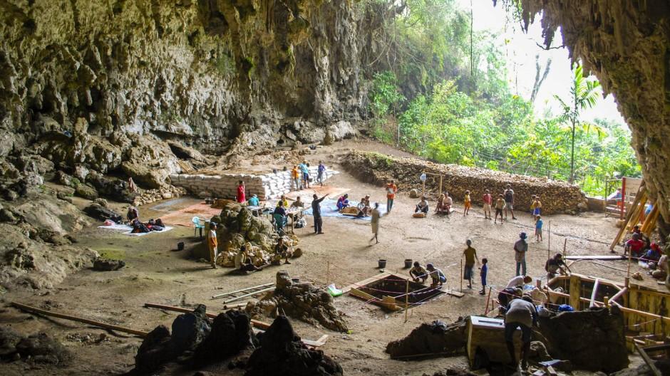 Ausgrabungen in der Höhle Liang Bua auf der indonesischen Halbinsel Flores 2007 bis 2014.