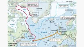 Karte / Untergang der Titanic / Wahrscheinlicher Weg des Eisbergs
