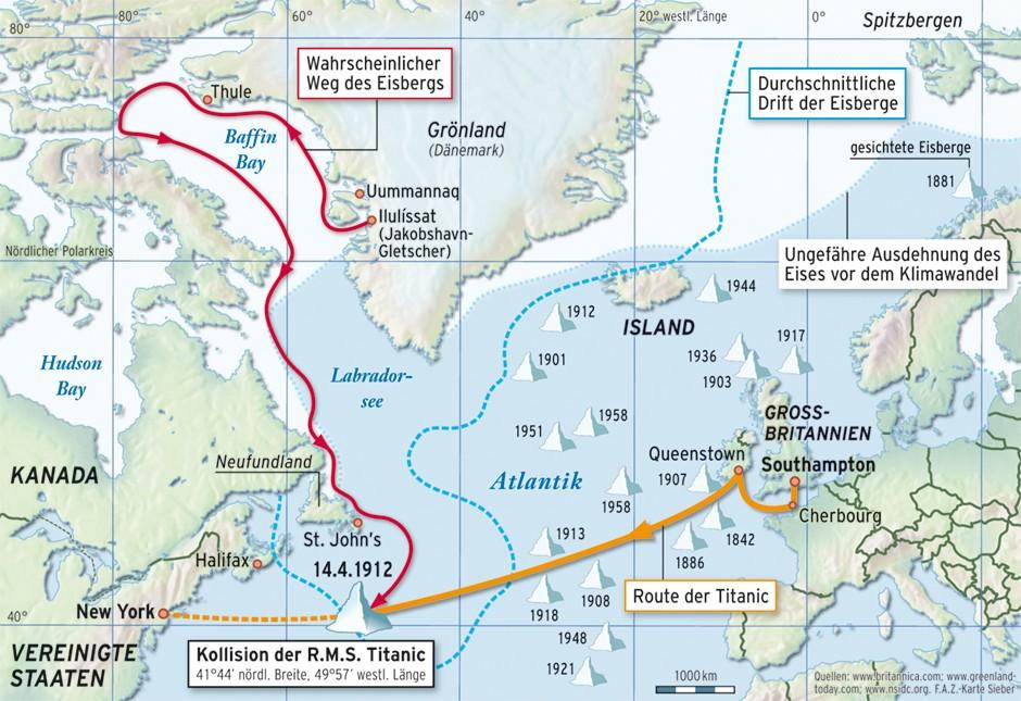 Karte Des Untergangs.Untergang Der Titanic Die Jahrhundertwende Der