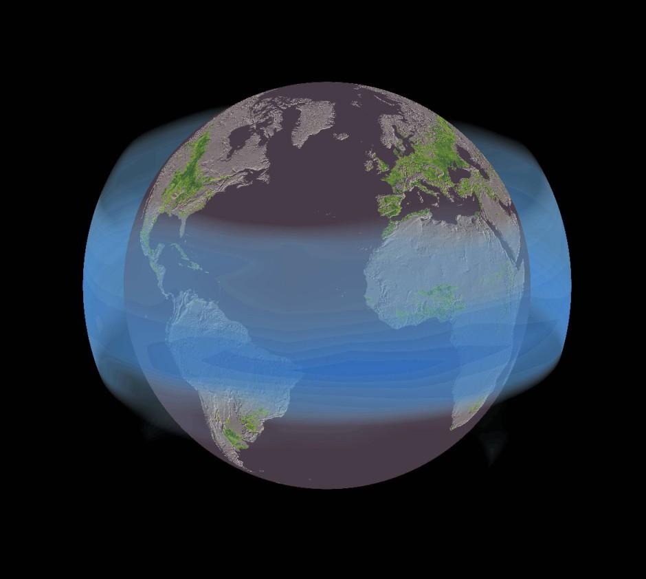 Hirngespinst oder Zukunftsprojekt für Geoingenieure? Ein Gürtel aus künstlichen Aerosolen (vorgeschlagen wurden beispielsweise Schwefelpartikel) könnte wie hier ind er Simulation dargestellt nach dem Ausbruch des Mount Pinatubo im Jahr 1991 die Sonneneinstrahlung vermindern.