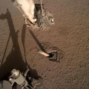 Der Maulwurf steckt im Marsboden fest. Auch der Roboterarm des Landers Insight kann nicht weiterhelfen.