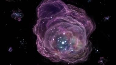 Ein massiver Stern der ersten Generation explodiert und schleudert seine Materie ins All.