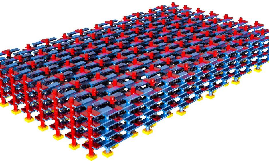 Grafische Darstellung des neuromorphen 3D-Schaltkreises aus Amherst: Rot und blau dargestellt sind die Platin- und Tantalelektroden der Memristoren. Dank des treppenförmigen Designs hat jedes Schaltelement Kontakt mit seinen nächsten Nachbarn.