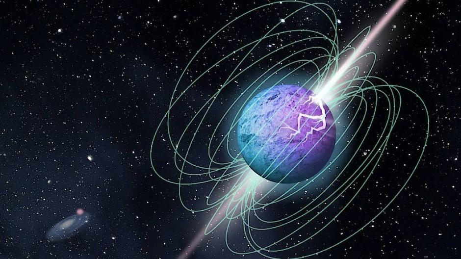 Künstlerische Darstellung eines Magnetars, der intensive Radioblitze aussendet.