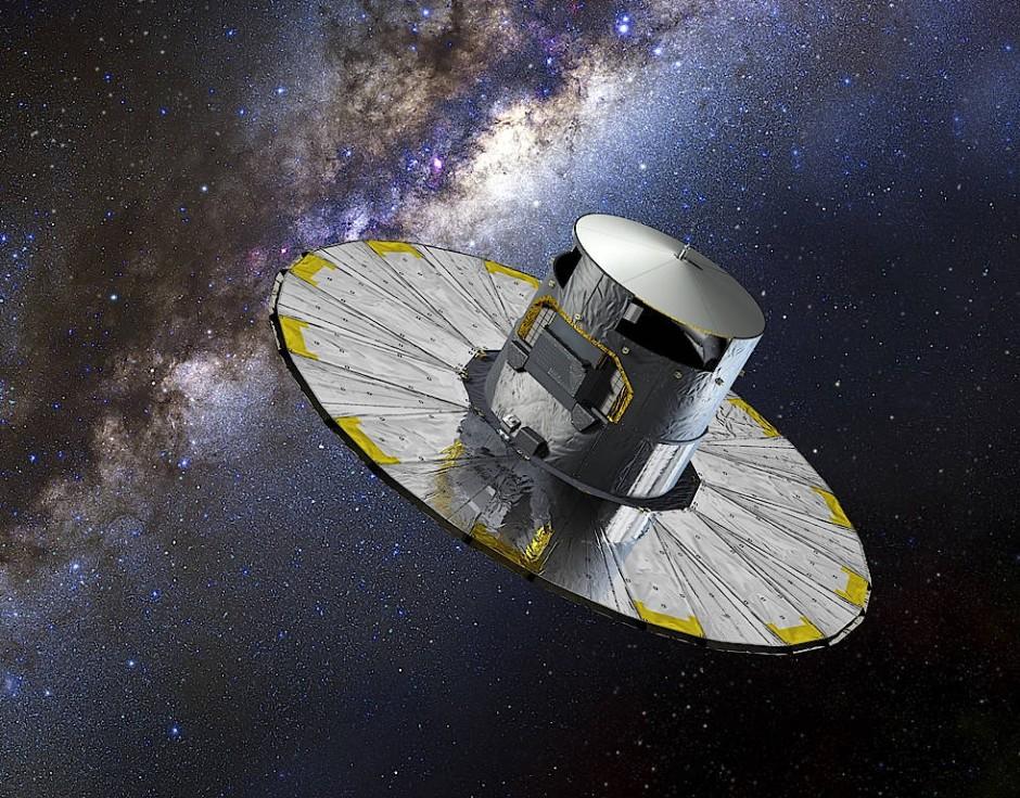 Das europäische Weltraumteleskop Gaia in einer künstlerischen Darstellung