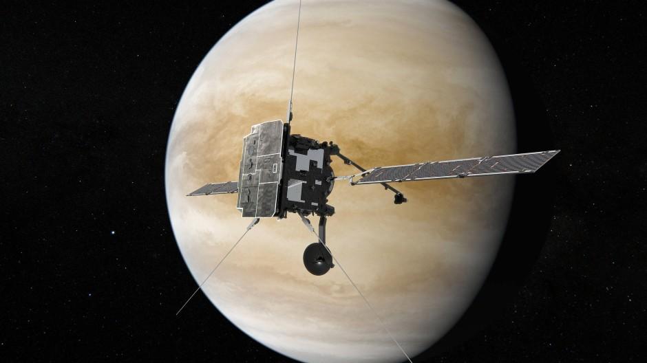 """Künstlerische Darstellung von """"Solar Orbiter"""" bei seinem zweiten Vorbeiflug an der Venus"""