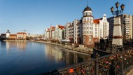 Blick auf das restaurierte Fischerdorf in Kaliningrad.