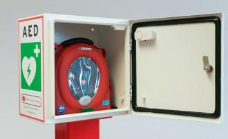So könnte ein Laien-Defibrillator in einem entsprechenden Wandkasten aussehen.