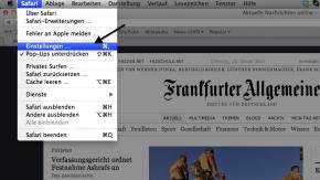 FAZ.NET als Startseite für Apple Safari I