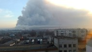 Waffenlager in Flammen