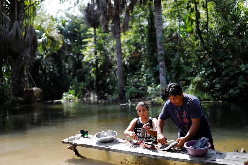 Auf einem improvisierten Tisch im Fluss vor ihrem Haus nehmen Pastor Crenilton Ferreira und seine Frau Claudia Adriana Fische aus.