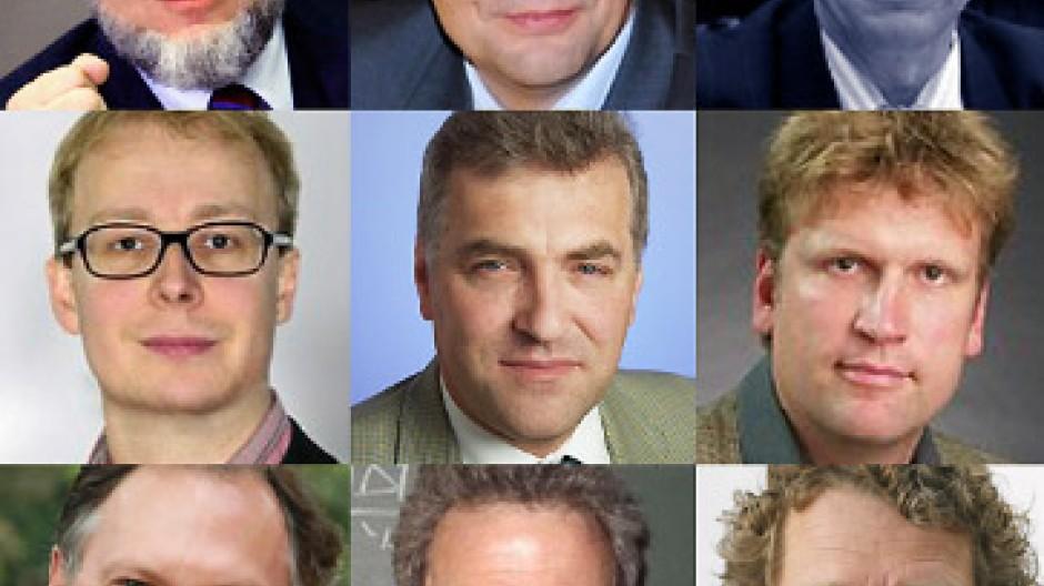 Obere Reihe: Hans-Werner Sinn (links), Günther Schulze, Charles Blankart; Mittlere Reihe: Justus Haucap, Thomas Gehrig, Ansgar Belke; Untere Reihe: Joachim Weimann, Michael Burda, Bernd Raffelhüschen