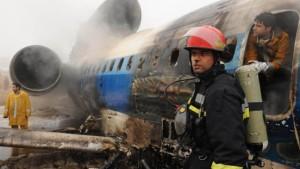 Tupolev fängt bei Landung Feuer