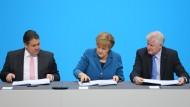 Gabriel, Merkel und Seehofer am Montag in Berlin