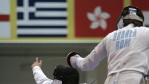 Germany''s Imke Duplitzer fences against Ana Branza of Romania