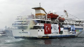 Turkish cruise ship Mavi Marmara, carrying pro-Palestinian activists and humanitarian aid to Gaza, leaves from Sarayburnu port in Istanbul