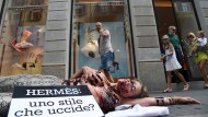 Protest gegen Handtaschen von Hermes