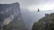 Hochseil-Wettbewerb in China