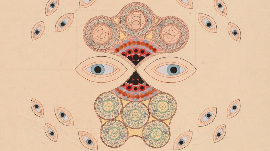 """Franz Hartl (1913-2003): """"Doppel-Augen-Spiel"""", 1943, Bleistift, Tusche, Gouache, 43 × 43 cm"""