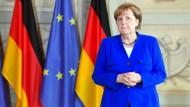 Merkel in der vergangenen Woche in Meseberg (Brandenburg)