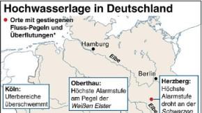 Grafik-Hochwasserlage in Deutschland (10.01.2011)