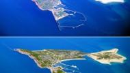 Eine Computersimulation zeigt Helgoland vor (oben) und nach der Sandaufspülung