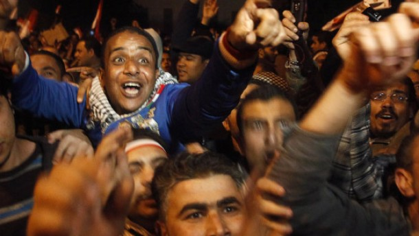 Opposition protesters celebrate Egypt''s President Hosni Mubarak''s resignation, from their stronghold of Tahrir Square in Cairo