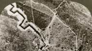 Aerial photograph of the German lines, World War I, 1914-1918.Artist: Realistic Travels Publishers