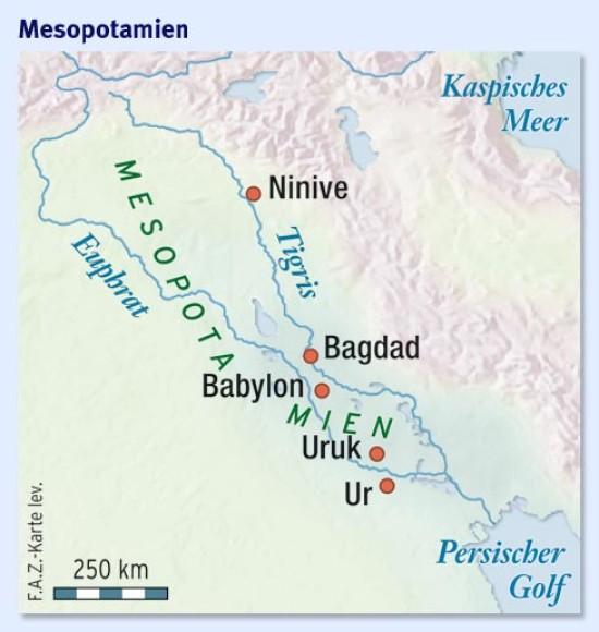 Babylon Karte.An Den Flüssen Von Babylon