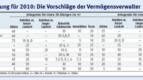 Infografik 882 / Tabelle / Die richtige Mischung für 2010: Die Vorschläge der Vermögensverwalter