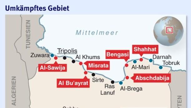 Infografik / Libyen Karte / Umkämpftes Gebiet